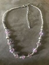 """17"""" Silvertone Pink Glass Bead And Silver Necklace With 4"""" Extender"""