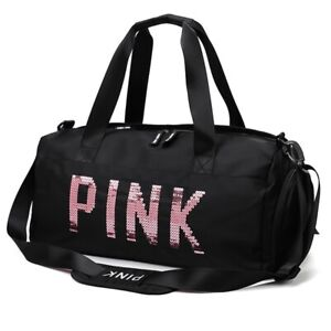 Pink Gym Duffle Bag Waterproof Sequins Sports Bags Travel Duffel Bag NEW