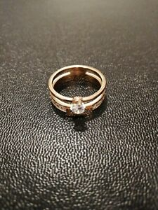 Stainless Steel Women's Engagement Wedding  Rings Two in One Size 7 Rose Gold