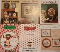 Lot of 35+ Vintage Cross Stitch Booklets Leaflets Leisure Arts County 1980s