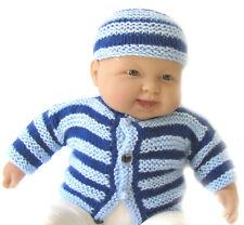 New Kss Handmade Blue Striped Baby Boy Sweater & Hat (3 Months) Sw-292 on Sale!