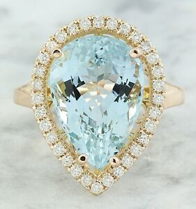 9.29 Carat Natural Aquamarine 14K Rose Gold Diamond Ring