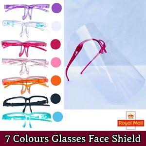 Face Shield Glasses Visor Full Face Protection Mask Transparent Clear Plastic UK