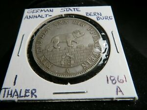 Germany State of Anhalt-Bernburg 1861-A 1 Thaler Silver Coin
