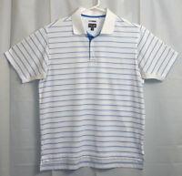 Adidas Golf Polo Shirt Men's Medium M White / Blue Striped Valley Vista G.C.