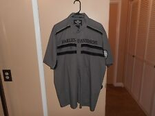 Men's Harley Davidson Colorblocked Gray Button Front Garage Shop Shirt XL-Tall