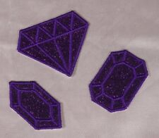 Embroidered Glitter 3-Pc Set Violet Purple Diamond Gem Applique Patch Iron On