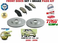 FOR FORD KA 1.0 1.3 1.6 2000-2008 FRONT VENTED BRAKE DISCS SET + PADS KIT