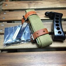 MOSIN NAGANT RUBBER BUTT PAD & GREEN SLING BELT LEATHER M44 91/30 W/ 10 PCS CLIP