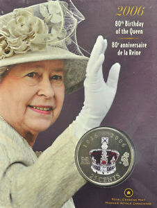 2006 Canada 25-cent Coin - 80th Birthday of the Queen