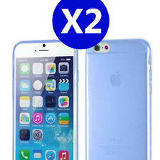 Two X Blue iPhone 6 / 6s TPU Gel Soft Jelly Case Phone Cover for Apple