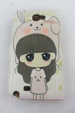Anime Folio Phone Case for Samsung Note 2 / N7100, colored leather, Girl w/Pet