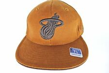 Miami Heat Solid Brown Tan Basketball Hat Cap Wool Reebock 7 3/4 New Fitted