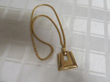 Vintage Monet Gold Tone Modernist Style Geometric Pendant with Snake Chain