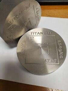 Titanium Bullion Round- Lot of (2) Large 1 pound with reeded edges random design