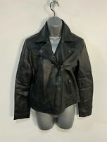 WOMENS LEVI STRAUSS & CO SIZE SMALL CASUAL BLACK LEATHER SHORT BIKER JACKET COAT
