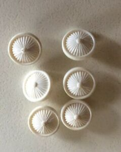 Set 6 Small Vintage White Plastic Self Shanked Buttons-1.4 Cm Diam