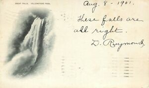 National Park Yellowstone Great Falls PMC Postcard 1901