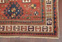 Pre-1900 Vegetable Dye Antique Kazak Caucasian Tribal Oriental Area Rug Wool 4x6