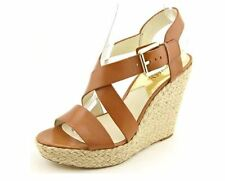 Michael Michael Kors Women's Tan Giovanna Wedge Open Toe Shoes 1640 Size 10M