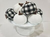 (8) Thanksgiving Fall Halloween Buffalo Black Check Pumpkins Tabletop Decor