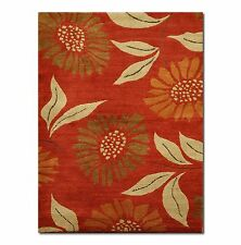 3' x 5' Authentic Tufenkian Wool Tibetan hand knotted Area Rug flower power Red