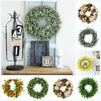 Artificial Sunflower Summer Wreath Green Leaves Front Door Indoor Wall Art Decor