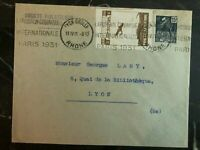 1931 Lyon France Airmail Cover Domestic Used Airmail Philatelic Exhibition Label