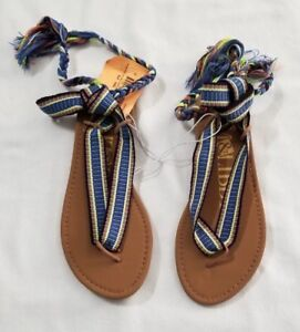 New Women's Sam & Libby Blue Blossom Braided Wrap Gladiator Sandals Shoes Size 7