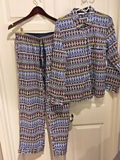 NEW Victoria Secret Mayfair Pajama Set Lightweight S pant pj blue nordic Cotton