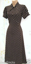 NEXT SIZE 16 TEA DRESS VINTAGE 30s 40's WW2 LANDGIRL STYLE POLKA DOT US 12 EU 44