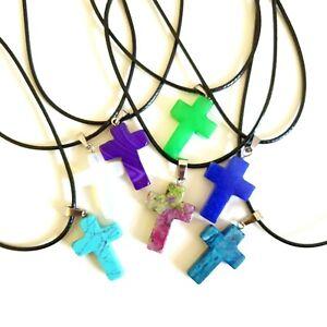 Cross Necklace Quartz Crystal Chakra Healing Gemstone Crucifix Natural Reiki