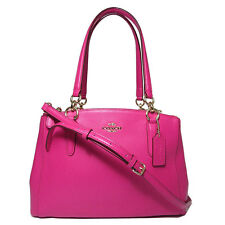 NWT Coach SM Christie Crossgrain Leather Carryall 36637 Imitation Gold/Pink Ruby