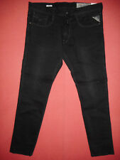 Replay Anbass Slim Fit W36 L32 RRP £ 145 Herren Stretch Black Denim Jeans N2