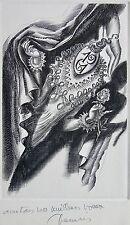 DECARIS : Gravure signée. Carte de vœux . Dimensions de la feuille : 140 mm X 19