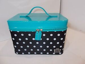 BROKEN ZIPPER Caboodles Gilded Pleasure Nail Valet with White Polka Dots Black