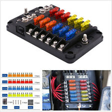 12-Way Car SUV Marine Boat 12/24V Blade Fuse Holder Box+24*Fuses 5A/10A/15A/20A