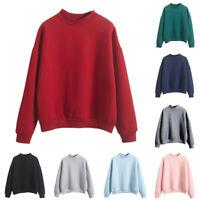 Women Autumn Casual Solid Color Crew Neck Long Sleeve Sweatshirt Pullover