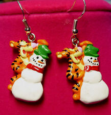Tigger ~925 Earrings HOOKS with Snowman Winnie the Poohs FRIENDS DISNEY Nora's