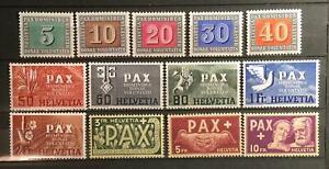Switzerland Scott's #293-305 1945 Pax issue, Mint light hinged, very fresh!!