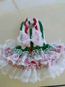 DOG DRESS/HARNESS  .  Christmas red stripe NEW FREE SHIPPING