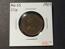 SCARCE: Canadian large cent error, 1903 1c straight clip