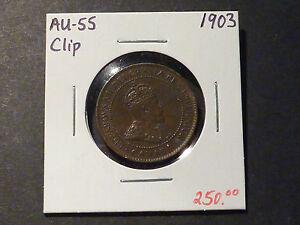 SCARCE: Canadian large cent error, 1903 1c straight clip