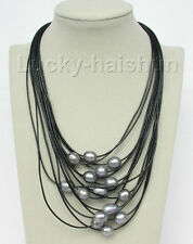 """17""""-24"""" 15row 14mm Gray pearls leather necklace magnet clasp j8801"""