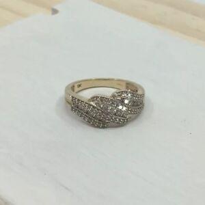 Genuine 1CTW Diamond 10k Solid Gold Ladies Dress Ring Sz N1/2 US7.5