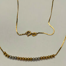"18"" 14K Yellow & White Gold Bead Necklace Elegant Dainty"