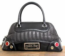 CHRISTIAN DIOR MONTAIGNE LICENCE PLT SIGNATURE GRAY BLACK LEATHER HANDBAG PURSE