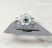 PILGRIM Adjustable Ring BOHEMIAN Flower Swarovski Enamel Silver/Blue BNWT