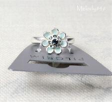 PILGRIM Adjustable Ring BOHEMIAN Flower Swarovski Enamel Silver/Blue BNWT