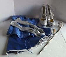 HAND MADE ONE OF KIND SEXY CINDERELLA HALLOWEEN COSTUME BLUE WHITE SILVER
